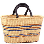 Cloth Handle Oval Shopping Basket - African Basket - Ghana Bolga - 17.5 Inches Across - #79782