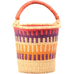 African Basket - Ghana Bolga - Pail - 13 Inches Across - #79997