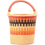 African Basket - Ghana Bolga - Pail - 13 Inches Across - #79998