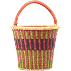 African Basket - Ghana Bolga - Pail - 13 Inches Across - #79999