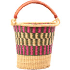 African Basket - Ghana Bolga - Pail - 13 Inches Across - #80308