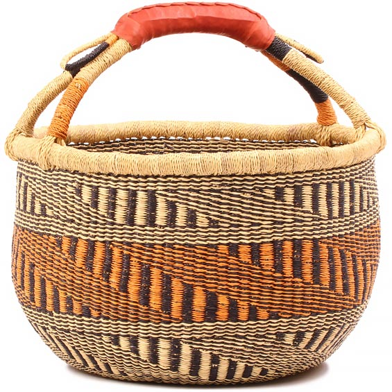 African Market Basket - Ghana Bolga - Large - 16 Inches Across - #80481
