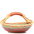 African Basket - Ghana Bolga - Short Round - 15 Inches Across - #80847
