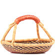 African Basket - Ghana Bolga - Short Round - 13.5 Inches Across - #80848
