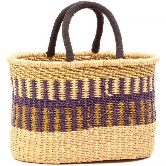 Cloth Handle Oval Shopping Basket - African Basket - Ghana Bolga - 16 Inches Across - #80874