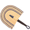 Cloth Handle Hand Fan - Ghana Bolga - African Woven Grass -  11.5 Inches Wide - #80917