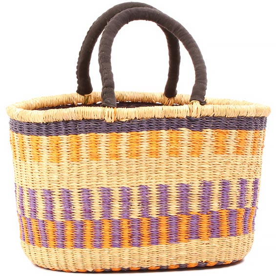 Cloth Handle Oval Shopping Basket - African Basket - Ghana Bolga - 16 Inches Across - #81022