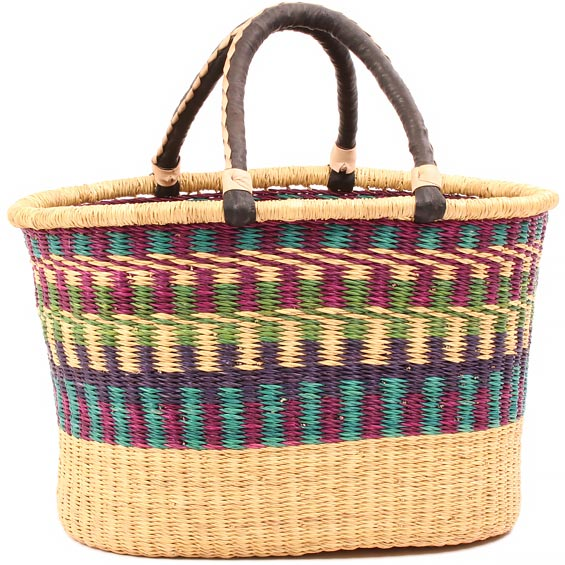 African Basket - Ghana Bolga - Oval Storage Basket - XL - 19 Inches Across - #81035
