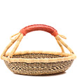 African Basket - Ghana Bolga - Short Round - 12.5 Inches Across - #81078