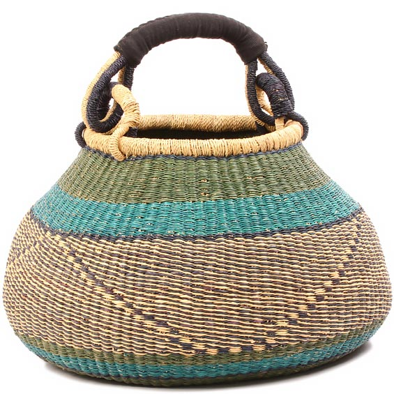 African Basket - Ghana Bolga - Gambibgo Pot - 18 Inches Across - #81081