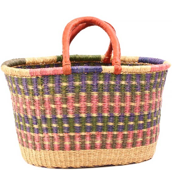 African Basket - Ghana Bolga - Oval Storage Basket - XL - 20 Inches Across - #81277