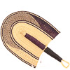 Cloth Handle Hand Fan - Ghana Bolga - African Woven Grass -  10 Inches Wide - #81320