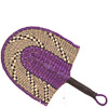 Cloth Handle Hand Fan - Ghana Bolga - African Woven Grass -  10 Inches Wide - #81321