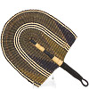 Cloth Handle Hand Fan - Ghana Bolga - African Woven Grass -  11 Inches Wide - #82183
