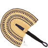 Cloth Handle Hand Fan - Ghana Bolga - African Woven Grass -  12 Inches Wide - #82186