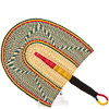 Cloth Handle Hand Fan - Ghana Bolga - African Woven Grass -  10 Inches Wide - #82190