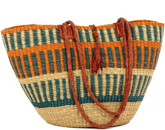 African Basket - Ghana Bolga - Shoulder Bag - 16.5 Inches Across - #82195