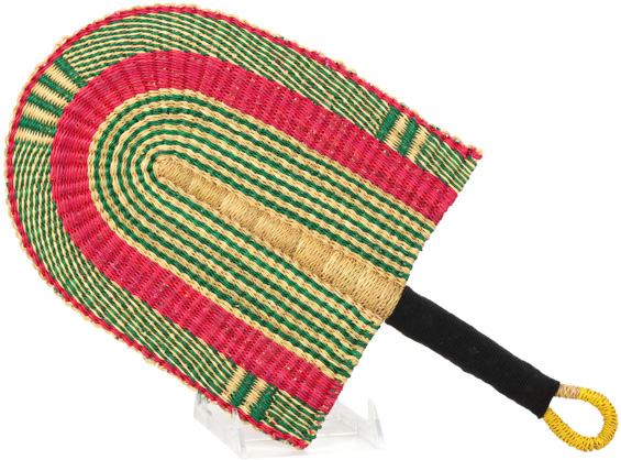 Cloth Handle Hand Fan - Ghana Bolga - African Woven Grass -  9.5 Inches Wide - #90327