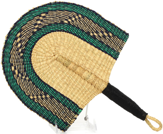 Cloth Handle Hand Fan - Ghana Bolga - African Woven Grass -  11 Inches Wide - #90331