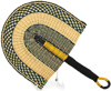Cloth Handle Hand Fan - Ghana Bolga - African Woven Grass -  11 Inches Wide - #90332