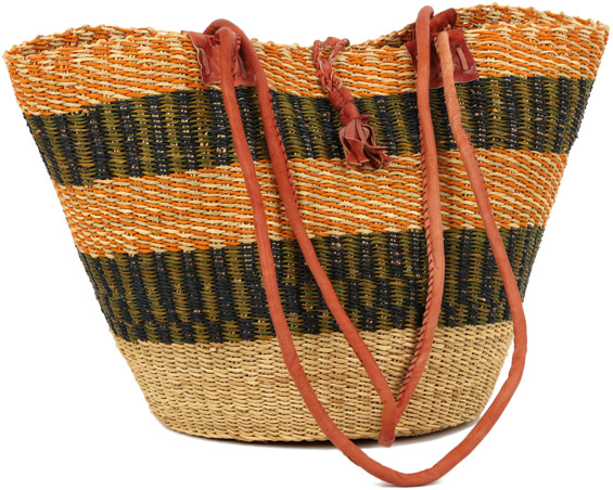 African Basket - Ghana Bolga - Shoulder Bag - 15.5 Inches Across - #90548