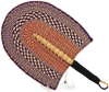 Cloth Handle Hand Fan - Ghana Bolga - African Woven Grass -  10.5 Inches Wide - #90570