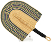 Cloth Handle Hand Fan - Ghana Bolga - African Woven Grass -  9.5 Inches Wide - #90572