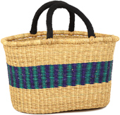 African Basket - Ghana Bolga - Cloth Handle Oval Shopping Basket - XL - 18 Inches Across - #90695