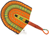 Hand Fan - Ghana Bolga - African Woven Grass -  10.5 Inches Wide - #90704