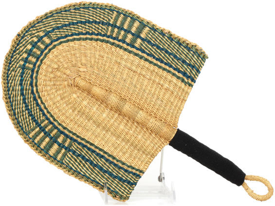 Cloth Handle Hand Fan - Ghana Bolga - African Woven Grass -  9.5 Inches Wide - #90707