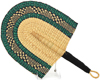 Cloth Handle Hand Fan - Ghana Bolga - African Woven Grass -  11 Inches Wide - #90708