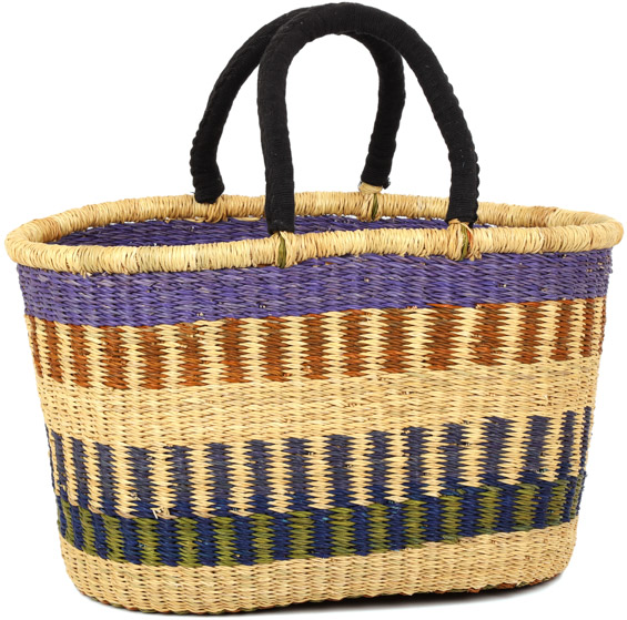 African Basket - Ghana Bolga - Cloth Handle Oval Shopping Basket - XL - 18 Inches Across - #90829