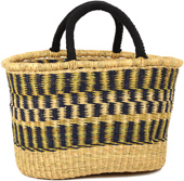African Basket - Ghana Bolga - Cloth Handle Oval Shopping Basket - XL - 18 Inches Across - #90995