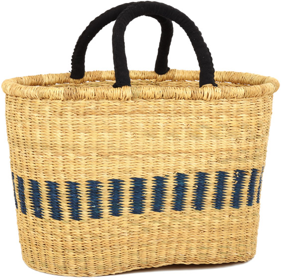 Cloth Handle Oval Shopping Basket - African Basket - Ghana Bolga - Large - 17 Inches Across - #91365