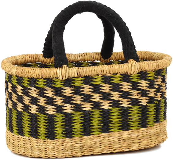 Cloth Handle Mini Oval Shopping Basket - African - Ghana Bolga - 11.5 Inches Across - #92217