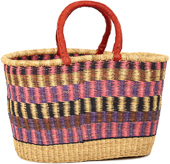 African Basket - Ghana Bolga - Oval Shopping Basket - XL - 19 Inches Across - #92238