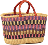 African Basket - Ghana Bolga - Oval Shopping Basket - XL - 19 Inches Across - #92239