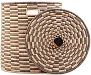 African Basket - Malawi - Large Lidded Hamper - 17-18 Inches Across - #66805