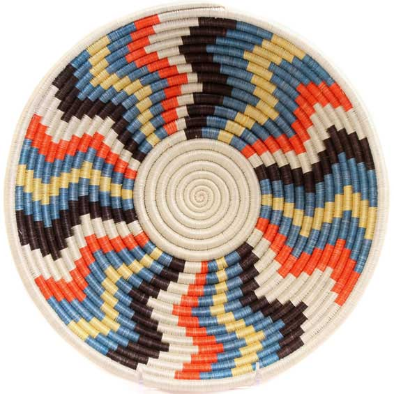 African Basket - Rwanda Sisal Coil Weave Bowl - 12 Inches Across - #56917