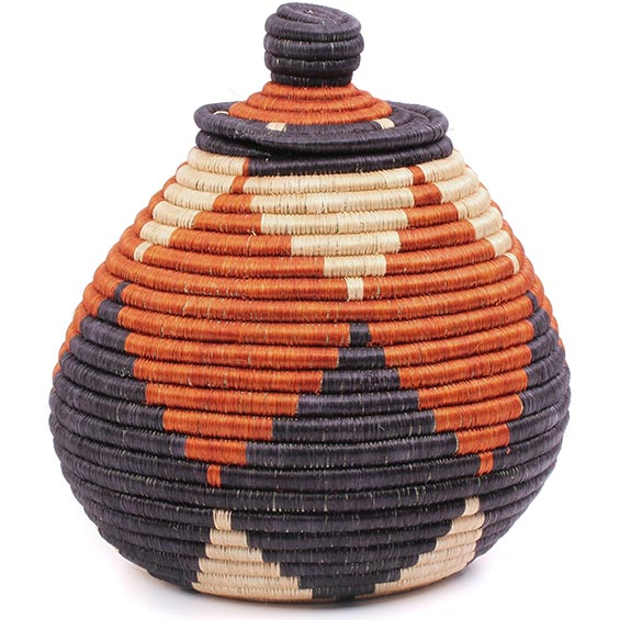 African Basket - Rwanda - Sisal Peace Basket - 9.25 Inches Across - #75182