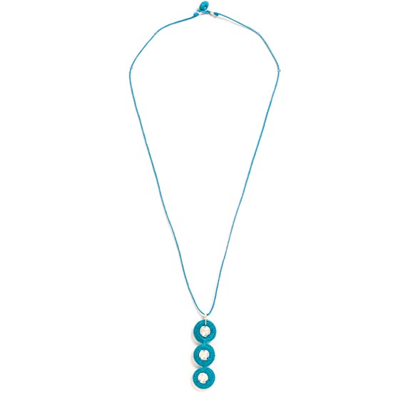 3 Vertical Disks Spiral Necklace<br>SJN02TQ