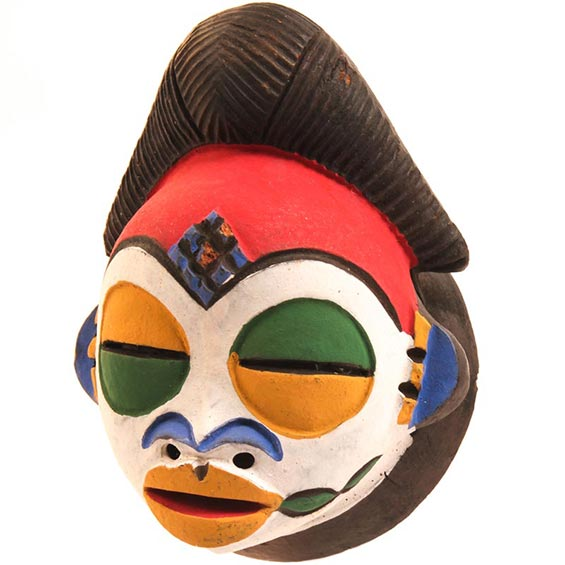 Traditional African Mask - Tikar Clay Passport Mask -  4.5 Inches Tall - #24627