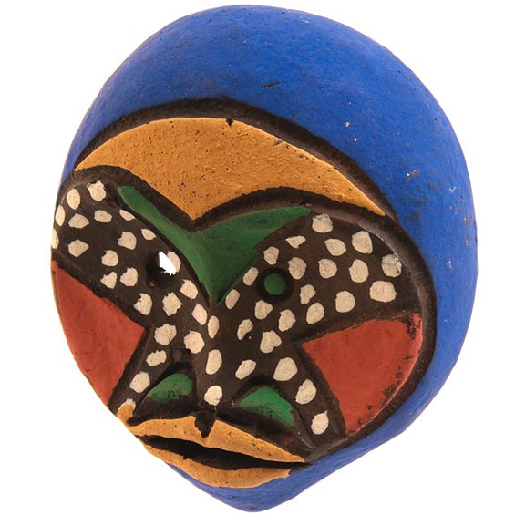 Traditional African Mask - Tikar Clay Passport Mask -  3.5 Inches Tall - #24638