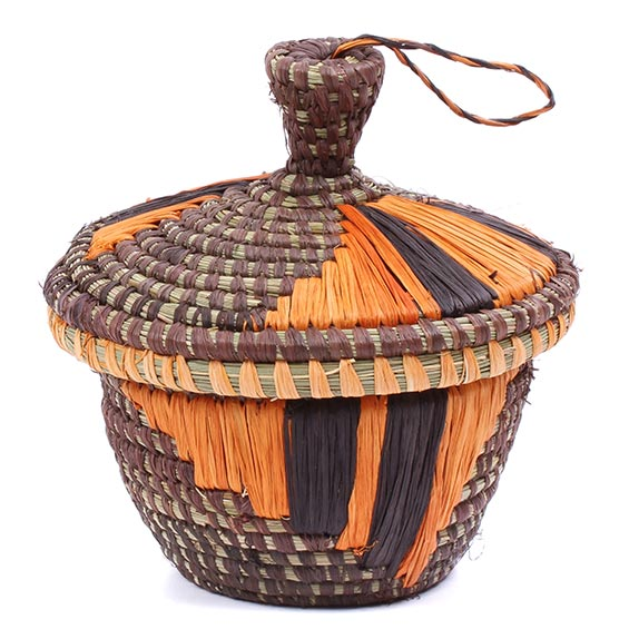 African Basket - Uganda - Petite Virunga Wishing Basket -  4 Inches Across - #79199