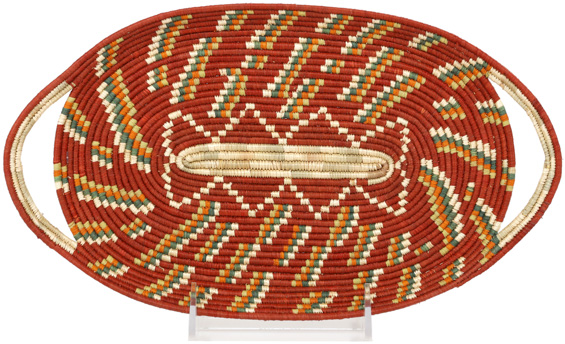 African Basket - Uganda - Rwenzori Oval Tray - 12 Inches Across - #90377
