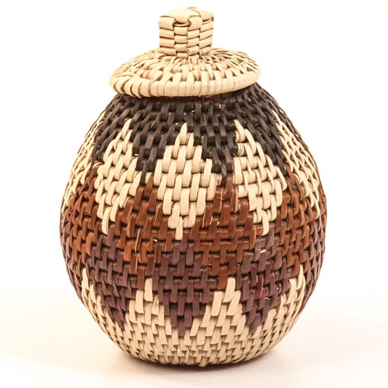 African Basket - Zulu Ilala Palm - Woven Herb Basket -  5.25 Inches Tall - #30972