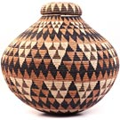 African Basket - Zulu Ilala Palm - Isichumo - 19 Inches Tall - #31422