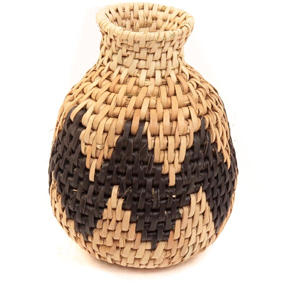 African Basket - Zulu Ilala Palm - Herb Vase -  4.25 Inches Tall - #40008