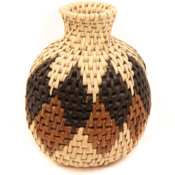 African Basket - Zulu Ilala Palm - Herb Vase -  4.5 Inches Tall - #40009