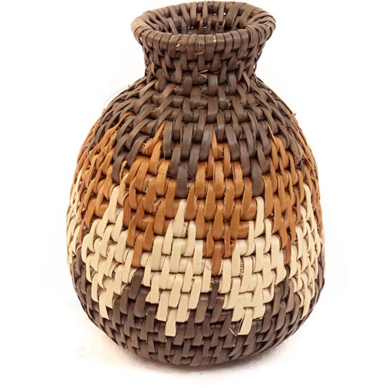 African Basket - Zulu Ilala Palm - Herb Vase -  4.25 Inches Tall - #40013
